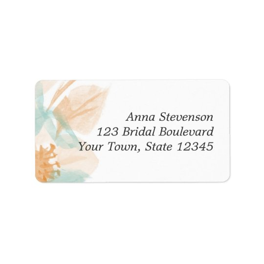 Peach Turquoise Watercolor Floral Label Address Label