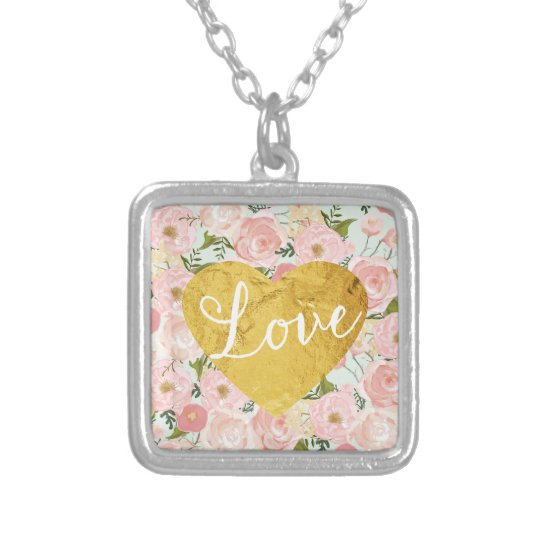 Peach Vintage Floral Fake Gold Love Heart Girly