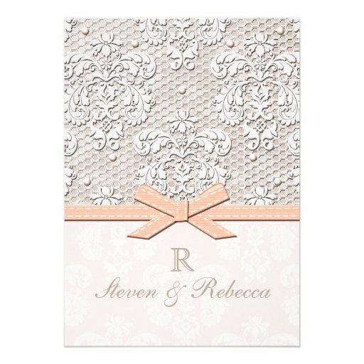 Pearl And Lace Wedding Invitations: Peach Vintage Lace And Pearl Wedding Invitations 13 Cm X