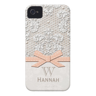 Peach Vintage Lace Pearl Case-Mate iPhone 4 Cases