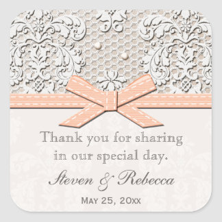 Peach Vintage Lace Wedding Favor Labels Stickers