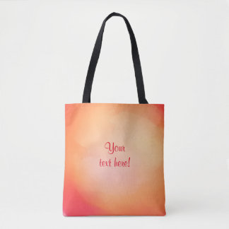 Peach watercolor background with text tote bag