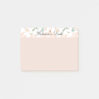 Peach Watercolor Botanical Floral Personalized Post-it Notes