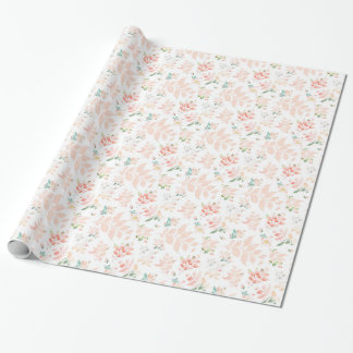 Peach Watercolor Botanical Floral Wrapping Paper
