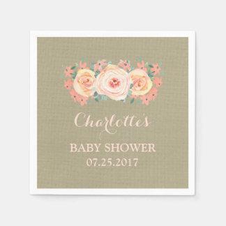 Peach Watercolor Floral Burlap Baby Shower Disposable Serviette