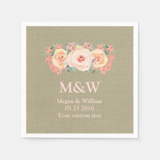 Peach Watercolor Floral Burlap Wedding Napkin Paper Serviettes