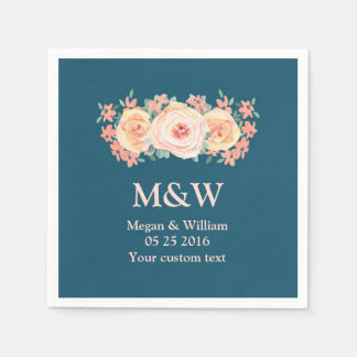 Peach Watercolor Floral Navy Blue Wedding Napkin Disposable Serviette