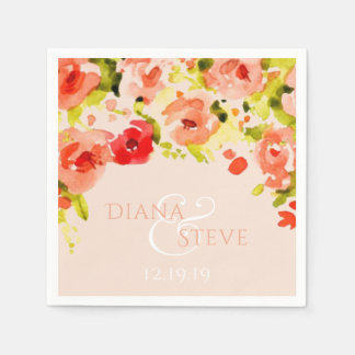 Peach Watercolor Floral Wedding Monogram Disposable Serviette