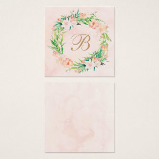 Peach Watercolor & Floral Wedding Name Plate Card