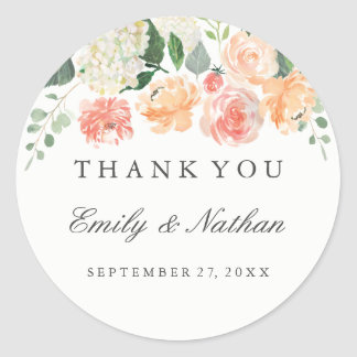 Peach Watercolor Floral Wedding Thank You Sticker