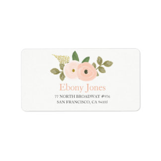 Peach Watercolor Flower Quinceanera Address Label