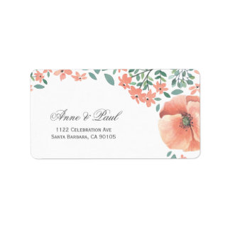 Peach watercolor flowers Address Labels