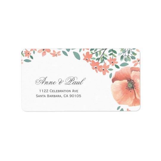 Peach watercolor flowers Address Labels