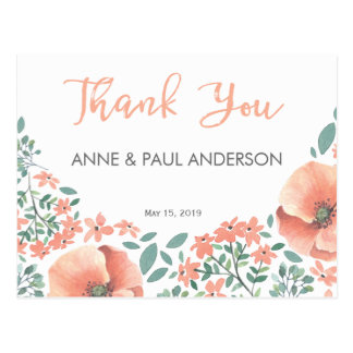 Peach watercolor flowers Thank You Card Postcard