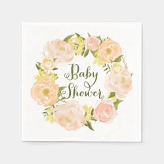 Peach Watercolor Peonies Wreath Baby Shower Napkin Disposable Napkins