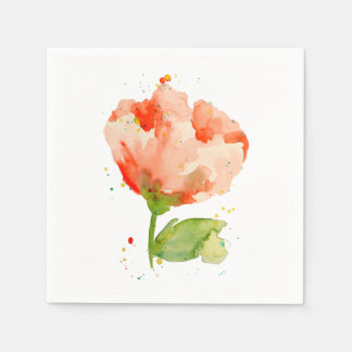 Peach Watercolor Poppy Disposable Serviette