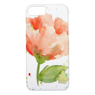 Peach Watercolor Poppy iPhone 7 Case