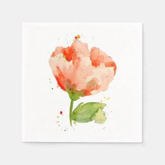 Peach Watercolor Poppy Paper Napkin