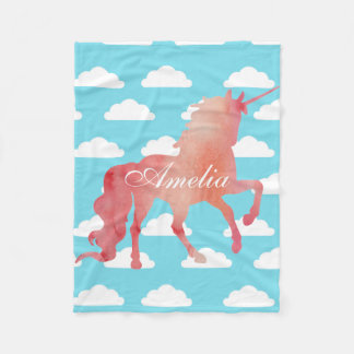 PEACH WATERCOLOR UNICORN WITH BLUE CLOUDS FLEECE BLANKET