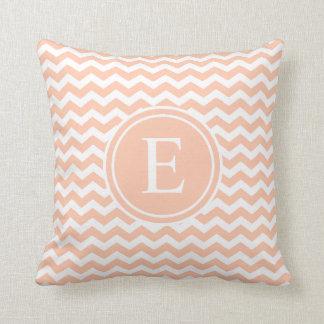 Peach White Chevron Monogram Throw Pillows Cushions