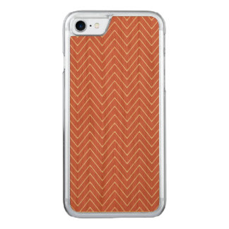 Peach White Chevron Pattern 2A Carved iPhone 8/7 Case