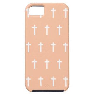 Peach White Crosses iPhone 5 Cases