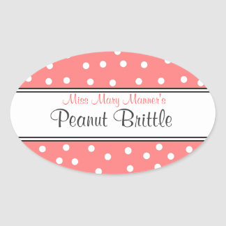 Peach White Dots-Business Logo-Sweets Oval Sticker