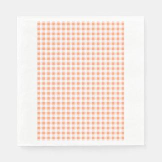 Peach White Gingham Pattern Disposable Napkin