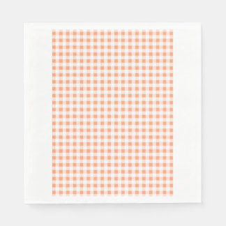 Peach White Gingham Pattern Disposable Serviettes
