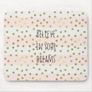 Peach White Gold Stripes Confetti Dream Mouse Mat