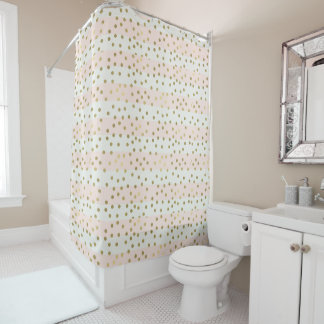 Peach White Gold Stripes Confetti Shower Curtain