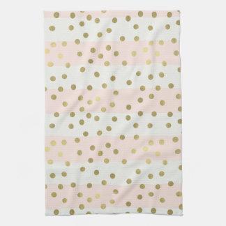 Peach White Gold Stripes Confetti Tea Towel