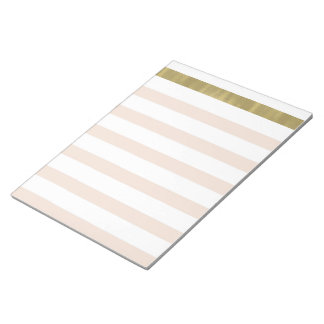 Peach White Gold Stripes II Notepad
