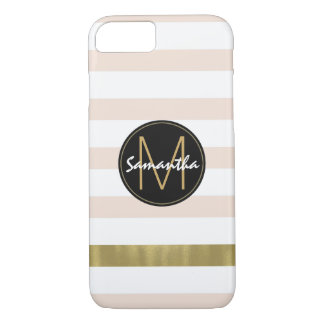 Peach White Gold Stripes Monogram iPhone 8/7 Case