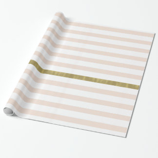 Peach White Gold Stripes Wrapping Paper