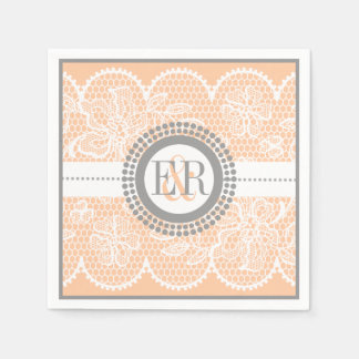 Peach, white lace pattern wedding disposable napkins