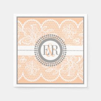 Peach, white lace pattern wedding disposable serviette