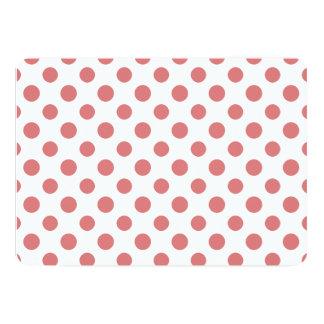 Peach White Polka Dots Pattern 13 Cm X 18 Cm Invitation Card