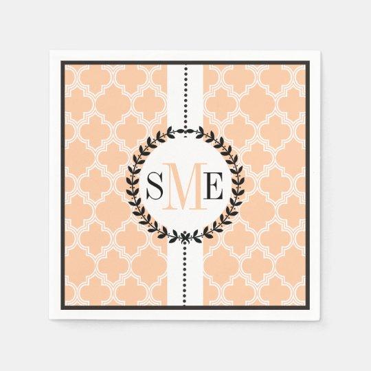 Peach, white quatrefoil pattern wedding disposable napkins