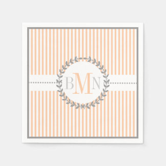 Peach, white striped pattern wedding disposable napkins