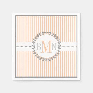 Peach, white striped pattern wedding disposable serviette