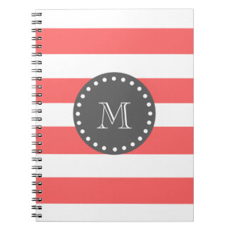 Peach White Stripes Pattern, Charcoal Monogram Spiral Note Books
