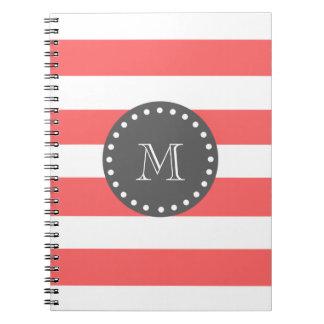 Peach White Stripes Pattern, Charcoal Monogram Spiral Notebook