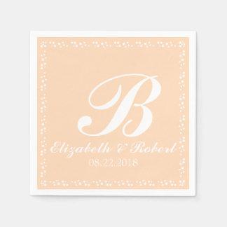Peach White Wedding Monogram Disposable Napkin