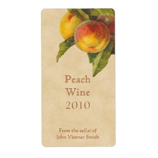 Peach wine bottle label shipping label