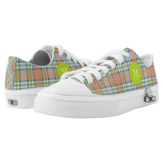 peach with blue and lime plaid printed shoes