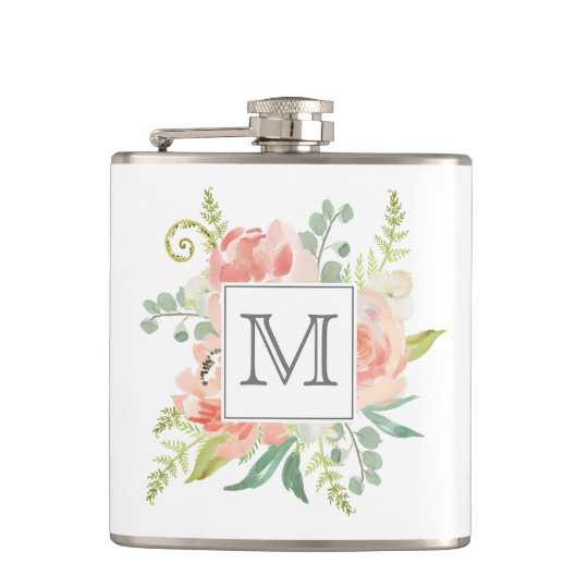 Peaches and Cream Monogrammed Floral Hip Flask