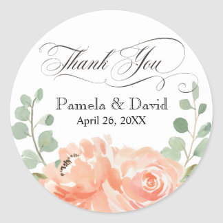 Peaches and Cream Watercolor Floral Thank You Classic Round Sticker