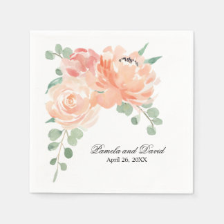 Peaches and Cream Watercolor Floral Wedding Disposable Serviette