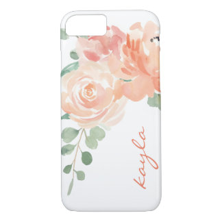 Peaches and Cream Watercolor Floral with Monogram iPhone 8/7 Case